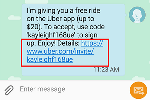 Accept an Uber free ride invitation from a friend