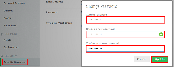 Click Update to change your Evernote password