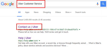 Use a web browser to search for the Uber customer contact form