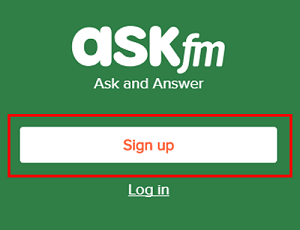 Sign up for Ask.fm