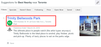 View your Foursquare search results.