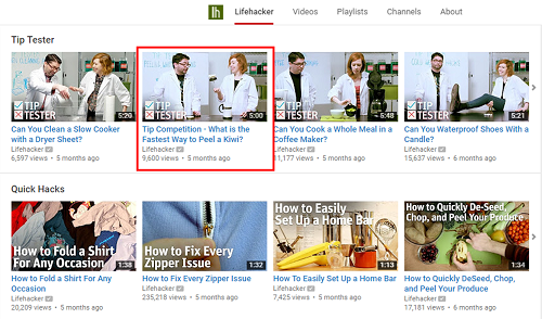 Click on a video to watch the Lifehacker YouTube channel.