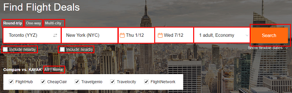 Use the search bar to search for flights.