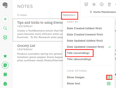 Sort and filter your notes to find them easily