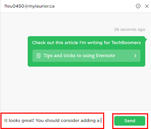 Use the Work Chat function to instant message with your Evernote contacts
