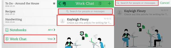 Use the Work Chat to instant message with your Evernote contacts