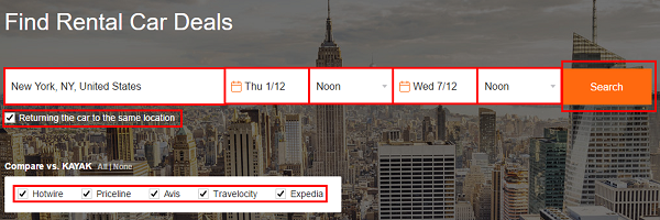 Fill in the search bar information to search for car rentals.