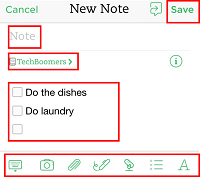 Tap the Save button to save your notes