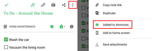 Use the star icon to add shortcuts