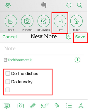 Tap the check box icon to add a checklist to your note