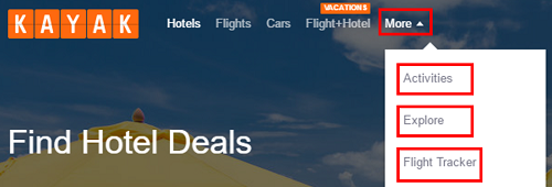 Click More at the top to search for activities and other travel deals.