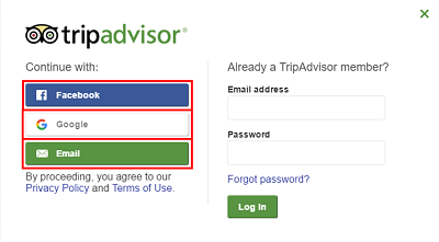 Choose how you would like to join TripAdvisor, from Google, Facebook, or by email
