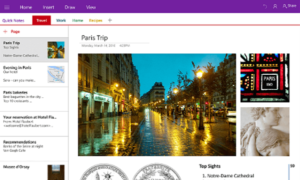 View of OneNote