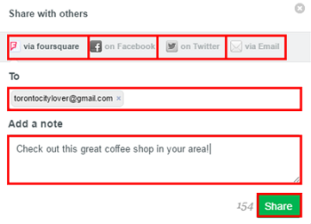 Choose a social media method of sharing your Foursquare experience