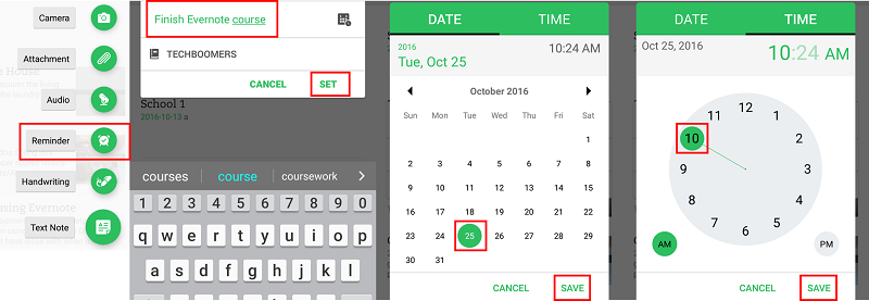 Add reminders to your notes