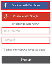 Choose to sign up with Facebook, Google, or with a valid email address.