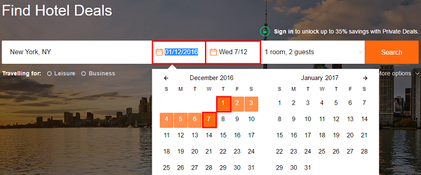 Use the calendar to choose your travel dates.