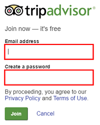 Enter your email address and choose a password for TripAdvisor