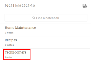 Search to find your notebooks