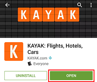 Tap open to launch the Kayak app.