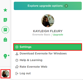 Access your account settings to delete your Evernote account