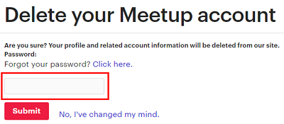 Enter your Meetup password