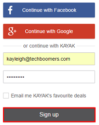 Click the Sign Up button to create your Kayak account.