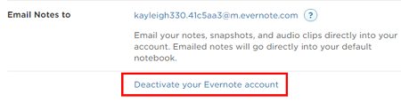 Click Deactivate your Evernote account to be taken to the delete account page