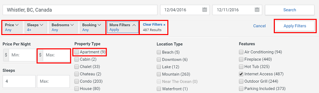 Filter your Homeaway search results to make them more applicable to your needs