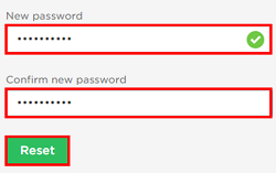 Choose a new password and type it into the highlighted box. Then click Reset.