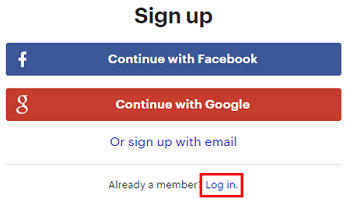 Click Log In to sign in to your Meetup account for the first time