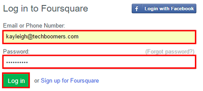 Enter your email address and password to sign in to your Foursquare account.