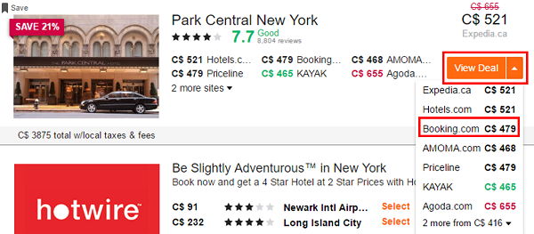 View and compare hotel prices.
