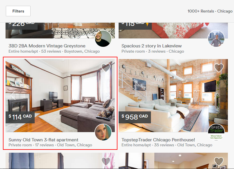 Selecting an Airbnb rental property to view