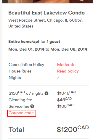 Applying an Airbnb coupon code
