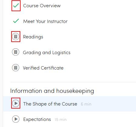 Accessing Coursera course materials