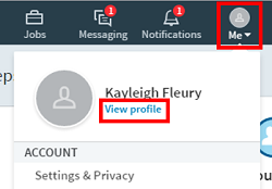 LinkedIn profile menu