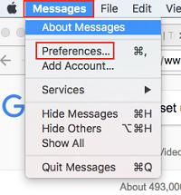 Message Preferences menu
