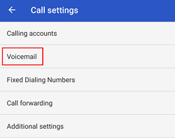 Voicemail settings button