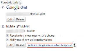 Activate Google Voicemail for phone