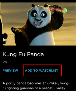 Click Add To Watchlist to add a program to view later