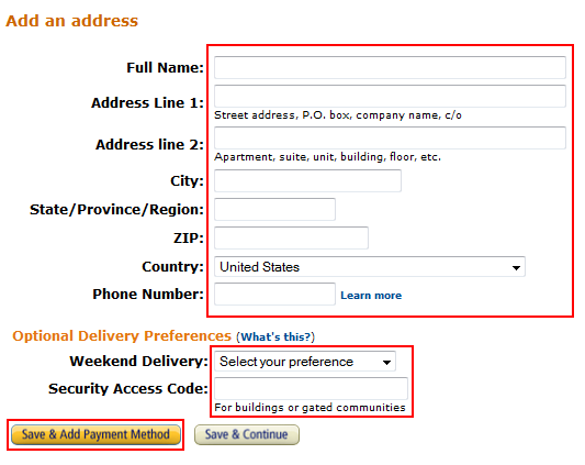 Enter Amazon shipping address