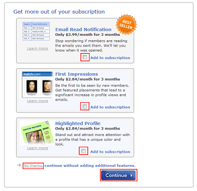 Add features to a Match.com subscription
