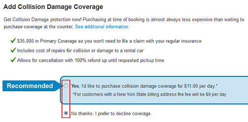 Priceline optional insurance form