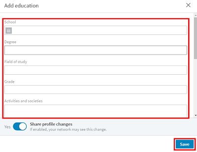 LinkedIn profile education form