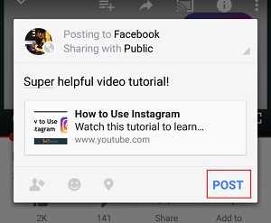 Post button in Facebook
