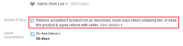 Example of an AliExpress returns policy