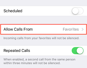Allow Calls From button