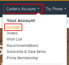 Amazon account settings menu