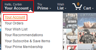 Amazon account settings